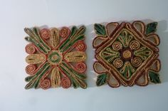 Vintage Mexican Woven Straw Trivets Set of 2 Square Mats Green, Red, Natural, Burgundy Hot Pads 1980s by ZoomVintage on Etsy
