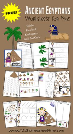 FREE printable preschool worksheets to help toddler, preschool, kindergarten, and grade kids practice alphabet and math with a fun Egypt theme. Egyptian Crafts, Egyptian Art, Ancient Egypt For Kids, Ancient Egypt Crafts, Ancient Egypt Lessons, Ancient Egypt Fashion, Ancient Aliens, Ancient Greece, Montessori
