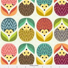 Woodland Hedgehog Fabric Hedgehogs Flowers By por Spoonflower