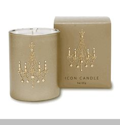 Gold Chandelier Candle - 9oz - Vanilla,Caramel & Cotton Candy Scented - Vegetable Wax