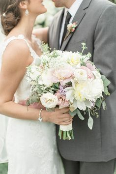 Romantic Wedding Bouquet with Peonies and Garden Roses | Brides.com