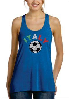 ITALY Glittery Flowy Racer Back Tank Top World Cup Brazil 2014 Soccer Football on Etsy, $28.99