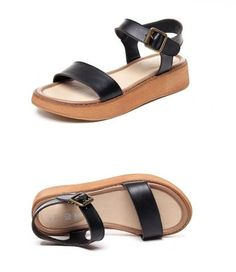- Lovely platform sandals - Ankle strap and buckle for added support - Made from PU - Available in 2 colors