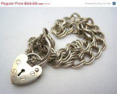 #Heart #Lock #Charm #Bracelet - #Heart #Padlock #Clasp - #Sterling #Silver