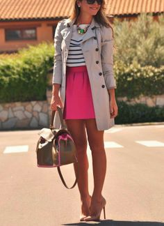 Stripes blouse with pink skirt and light grey stylish jacket and leather hand bag and golden yellow high heels pumps