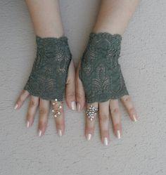 gants de mariage de vert, de la dentelle gant, mariée : Mitaines, gants par binnur-yildirim