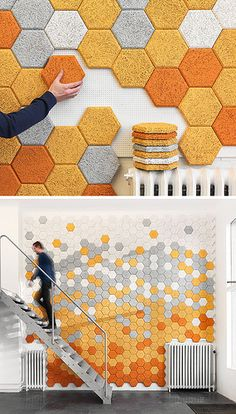 "These colorful hexagonal wall tiles are made from sound-absorbing ""wood wool"" Okay, so these are very cool. They'd look great on high walls. Hexagon wall tiles from Form Us With Love."