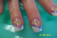 funky french summer color by aliciarock - Nail Art Gallery nailartgallery.nailsmag.com by Nails Magazine www.nailsmag.com #nailart