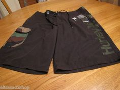 Men's Hurley board shorts swim surf skate trunks 30 black camo salute boardshort