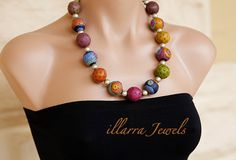 Designer Polymer Clay Bead Necklace in bright by illarraJewels, $50.00