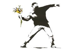 Flowers Banksy Mural Wallpaper, custom made to suit your wall size by the UK's No.1 for wall murals. Custom design service and express delivery available.