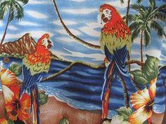 Uluwatu Made In Bali Mens Shirt XL Hawaiian Parrots Hibiscus Palm Trees Blue  #UluwatuMadeInBali #Hawaiian