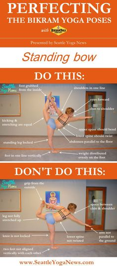 Looking to perfect your standing bow yoga pose? Take a look at this forward bending guide that visually explains what to do and what not to do.