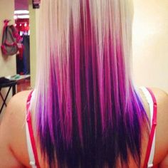Blonde, pink, purple ombre