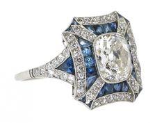 Art Deco Style Sapphire and Antique Cushion 1.50 Carat J/I-1 Diamond Ring in Platinum