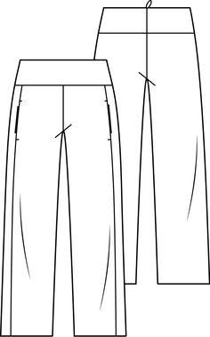 Broek met rechte wijde pijpen. De broek heeft een brede pas met middenachter een rits. In de naar voren verlegde zijnaden zijn zakken gezet.