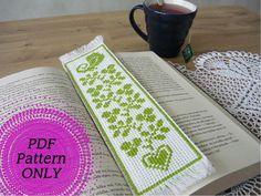 Pattern  Cross stitch bookmark  Green bird by MariAnnieArt on Etsy