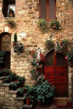 'Assisi Doorway' Perugia, Umbria, Italy (photo by Bart Edson) Cool Doors, Unique Doors, Doorway, Windows And Doors, Red Doors, Belle Photo, Stairways, Beautiful Places, Beautiful Mind