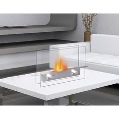 This new super chic, anywhere fireplace brings the ambiance of fire to small spaces. Its sleek tempered glass front and back and stainless steel fuel burner can be put on any steady surface – a table top, a stand, the floor or inside non-functioning fireplace -- to allow you to see the beautiful dancing flames of a fire where you previously could not. It uses liquid bio-ethanol fuel and gives off no smoke, soot, ash. No installation, electric or gas connection needed.