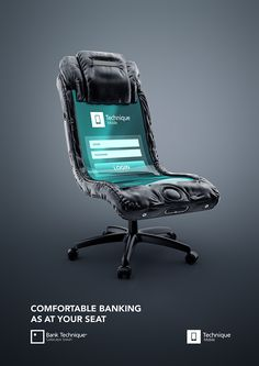 "Bank Technique approached us to create prints for the new product of theirs. We have developed a company slogan. ""Convenient banking without leaving your seat"" . Banking transactions can be either on the phone ( Creative Advertising, Banks Advertising, Ads Creative, Creative Posters, Print Advertising, Advertising Campaign, Online Advertising, Web Design, Design Ideas"