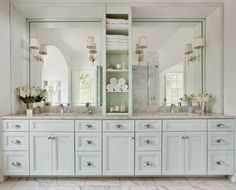 My Future Master Bath~ sconces, marble counter and floor..Mark Williams Designs