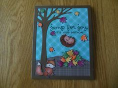 Lawn Fawn Jump for Joy stamp set, to create Happy 12th Birthday for Savannah, September, 2016.  Card design inspired by Lawn Fawn blog.