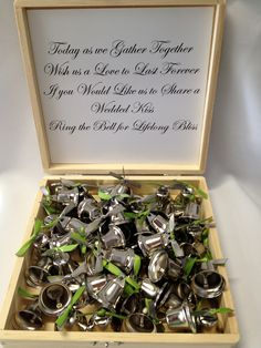 Wedding Favor Kiss kissing bells toast Liberty Bells Groom Bride Favor Ribbon - Set of 50 With Box and Wedding Saying. $52.50, via Etsy.