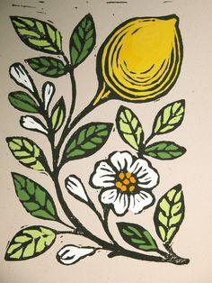Lemon Block Print handcolored w/ gouache. Giardino. $36.00, via Etsy.