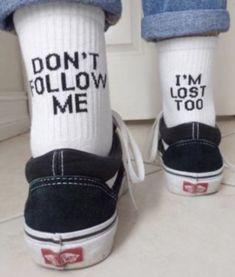 Dont Me Im Lost Tooquot; Funny Socks, Cute Socks, My Socks, Lost Socks, Happy Socks, High Socks, Fashion Mode, Look Fashion, Fashion Outfits