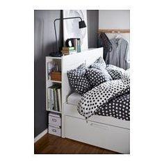 BRIMNES Bed frame with storage & headboard, white, Lönset - Queen - Lönset - IKEA