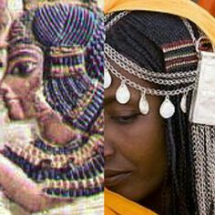 African traditional hairstyles, then and now: this East African Sudanese Shanabla woman's sidelock is ornamented in the same manner as that of ancient Egyptian 18th dynasty King Tutankhamun's Great Royal Wife Ankhesenamun, with the ridges of the barrette overlapping each individual braid of the sidelock, the top of which is cornrowed on the scalp in both cases. Also, the facial features and skin tones are very similar...Photography via iw-chameleon.bravepages.com, auroraphotos.com, photo…