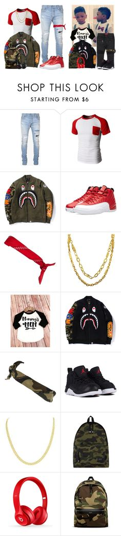"""""""Father & Son"""" by vi-demigliore ❤ liked on Polyvore featuring Balmain, Doublju, NIKE, River Island, Roial, MCM, Haus of JR, A BATHING APE, Beats by Dr. Dre and Yves Saint Laurent"""