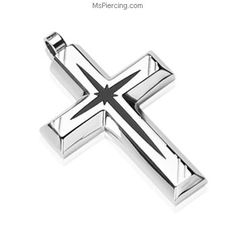 316L Stainless Steel with Black PVD Star Centered Cross Pendant #mspiercing #piercings