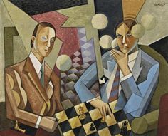 Chess Players by Sándor Bortnyik (Hungarian), oil on canvas, ca. Futurism Art, Art Through The Ages, Chess Players, Victor Vasarely, Art Moderne, Ink Pen Drawings, Naive Art, Figure Painting, Art Google
