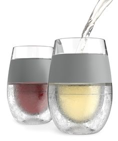 True Fabrications Freeze Wine Glasses - Place these wine glasses in the freezer to enjoy chilled whites or reds. Made of BPA-free plastic, they feature rubber accents for a comfortable grip.