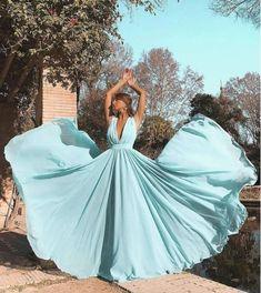 A-Line Deep V-Neck Light Blue Chiffon Long Prom Dress Source by Dresses blue Pretty Prom Dresses, Pink Prom Dresses, Dance Dresses, Cute Dresses, Beautiful Dresses, Evening Dresses, Formal Dresses, Wedding Dresses, Vestidos Tiffany