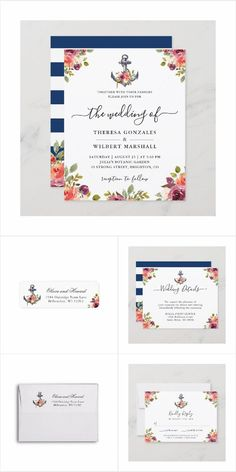Nautical Anchor Floral Themed Invitations, Cards, Stationery and more. Summer Wedding Invitations, Wedding Invitation Design, Nautical Anchor, Wedding Themes, Big Day, Stationery, Presents, Floral, Cards