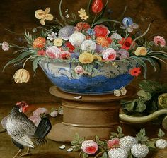 "Jan van Kessel the Elder Still Life with Flowers and Rooster 17th century. Via"" Still life quick heart"""