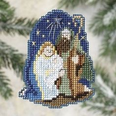 """MH189305 - Nativity (2009) - Mill Hill - Seasonal Ornament / Pin Kits - Winter Holiday Kit Includes: Beads, treasures, perforated paper, floss, specialty threads, needles, chart, magnet and instructions. (1 of 6 designs in display  **Glue Velcro (NOT included) to back for additional uses. Size: 2.5"""" x 3"""""""