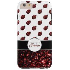 Red sparkles Ladybug Monogram #iPhone6case