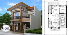 A modern house plan is a 4 bedroom 2 story house. Three meters from the front boundary or fence is a small porch which opens to the living room and all Guest House Plans, Open Floor House Plans, Three Bedroom House Plan, Porch House Plans, Farmhouse Floor Plans, Bungalow House Plans, Modern House Plans, Two Story House Design, Village House Design