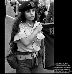 Austin, May 28, 1981. A Dallas member of the Brown Berets, a Chicano activist group organize in the late 60's at a police brutality demonstration.