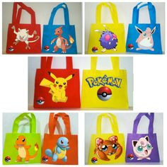 Include these Pockemon Favor Bags of different Characters in your next Pokemon Theme Party!!