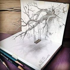 A trained artist can already create detailed pencil drawings, but when they achieve a true mastery of perspective and space, their art, both literally and figuratively, reaches a whole new level. Here are 22 examples of pencil drawings that look lik Amazing Drawings, Cool Drawings, Amazing Art, Funny Drawings, 3d Pencil Drawings, Pencil Sketch Art, 3d Pencil Art, Pencil Drawing Inspiration, Pencil Shading