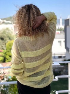 Knit Mohair sweater Loose oversize fit Quality mohair hand knit Wool sweater Striped sweater Ready to ship Hand knit pullover Yellow jumper – knitting sweaters diy Knitting Stitches, Knitting Designs, Hand Knitting, Knitting Patterns, Mohair Sweater, Loose Sweater, Wool Sweaters, Crochet Shirt, Knitting For Beginners
