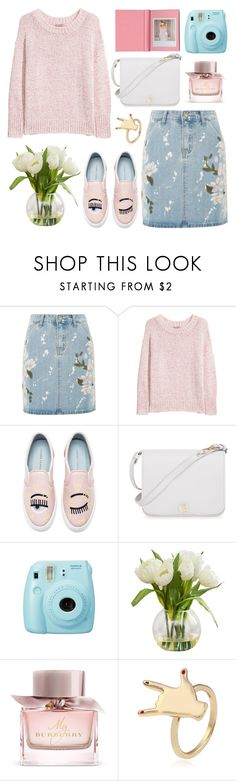 """""""Denim Floral Skirt"""" by pure-vnom ❤ liked on Polyvore featuring Glamorous, H&M, Chiara Ferragni, Furla, Fuji and Burberry"""