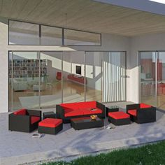 Venice 8 Piece Sofa Set 610 EXP RED SET By LexMod · Rote Kissen TerrassenmöbelVerandamöbelRattanVenedigSitzgruppeMöbel  JahrhundertmitteAußenterasse
