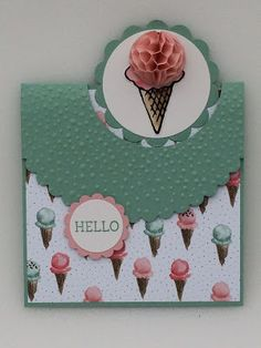 SU Honeycomb Happiness; little fattie; MFT Flop card die; mint and rose; aqua and pink; hello; scalloped circle; scalloped; embossing folder; ice cream cone; honeycomb paper