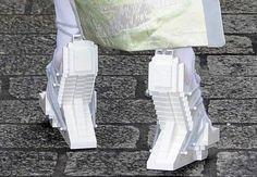 Lady Gaga in Londen, wearing Lego platform shoes by Dutch designer Winde Rienstra