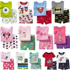 Disney Cartoon Baby Kids Pajamas Boys Girls Short Sleeve Sleepwear Sets 2pcs **************************************** פיג'מות קיץ לילדים עד גיל 7 בעיצובים של דיסני ועוד רק ב 31 שקל כולל משלוח חינם